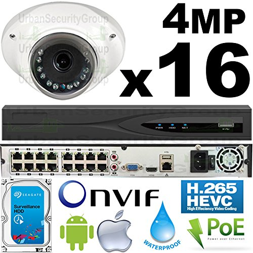 USG Business Grade 4MP 16 Camera HD Security System : 6MP 32 Channel NVR with 16x RJ45 PoE Ports + 16x 4MP 2.8mm PoE IP Dome Cameras + 1x 4TB HDD : Low-Profile Discreet Housing : Remote Viewing by Urban Security Group