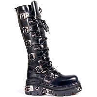New Rock Newrock 272 Metallic Black Goth Knee High Zip Boot Leather Buckle Boots