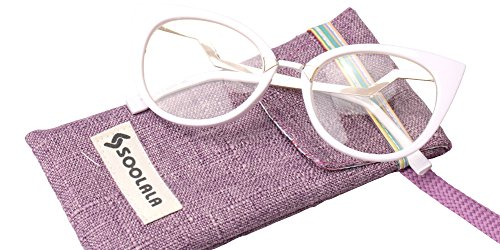 SOOLALA Womens 53mm Lens Vintage Unique Ladder Arm Cat Eye Reading Glass, White, - Cat Prescription Eye Uk Glasses