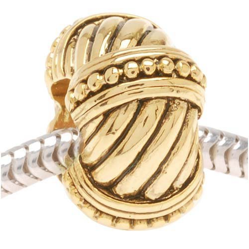Beadaholique Beaded Cable Rope Bead, Fits Pandora, 22K Gold Plated