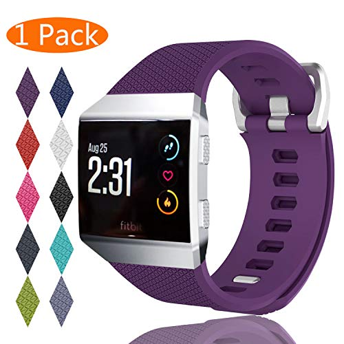 KingAcc Compatible Replacement Bands for Fitbit Ionic, Soft Silicone Fitbit Ionic Band with Metal Buckle Fitness Wristband Strap Women Men (1-Pack, Purple, Small)
