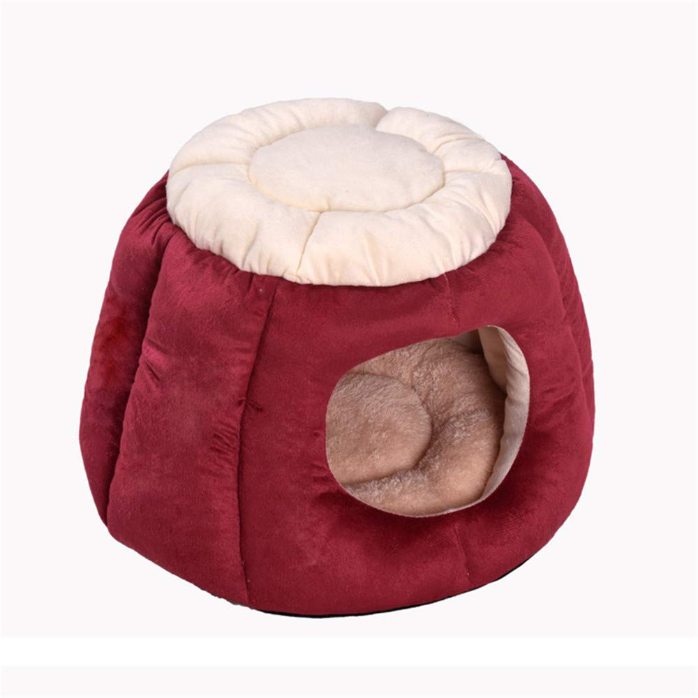 Red Medium Red Medium Liuxiaoqing Pet Bed for Cats Small Dogs Winter Warm Cat Litter Pet Supplies Four Seasons Cat Sleeping Bag Deep Sleep Semi-closed Cat Tent Cat House Soft Comfy Washable (color   Red, Size   M)