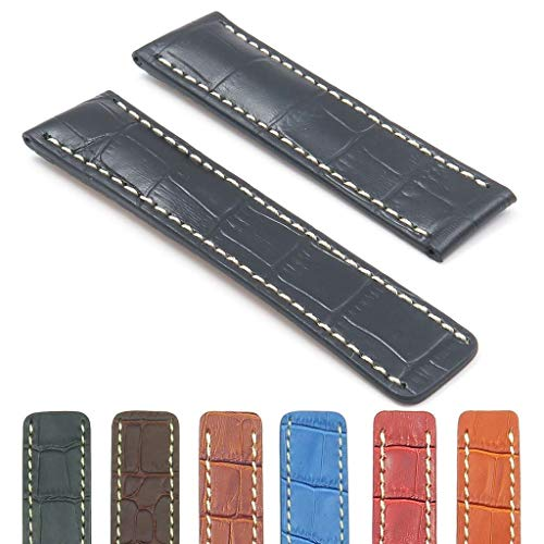(DASSARI Vantage Croc Embossed Leather Watch Band Strap Compatible with Breitling 20mm 22mm 24mm)
