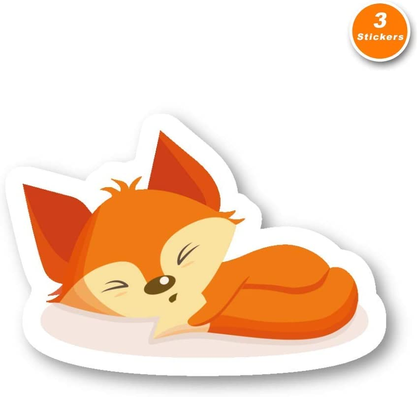 Fox Sticker Cute Animals Stickers - 3 Pack - Set of 2.5, 3 and 4 Inch Laptop Stickers - for Laptop, Phone, Water Bottle (3 Pack) S214502