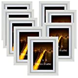 4x6 Picture Frame Set White 4 by 6 Wall Mounting Picture Frame Set with Mat, Set of 8