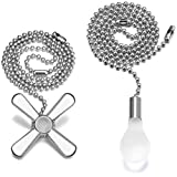 Ceiling Fan Pull Chain, 2pcs 24-inch 3mm Diameter Beaded Ball Extension Chains with Decorative Light Bulb and Fan Cord (Silver)