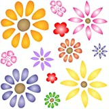 "FLOWER POWER STENCIL (size 5""w x 5""h) Reusable Stencils for Painting - Best Quality Scrapbooking Valentines Idea - Use on Walls, Floors, Fabrics, Glass, Wood, Cards, and More…"