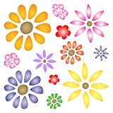 "FLOWER POWER STENCIL (size 7""w x 7""h) Reusable Stencils for Painting - Best Quality Scrapbooking Valentines Ideas - Use on Walls, Floors, Fabrics, Glass, Wood, Posters, and More…"