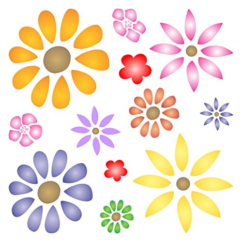 """Girl Power Borders - FLOWER POWER STENCIL (size 7""""w x 7""""h) Reusable Stencils for Painting - Best Quality Scrapbooking Valentines Ideas - Use on Walls, Floors, Fabrics, Glass, Wood, Posters, and More…"""