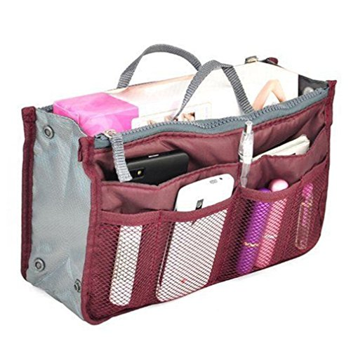 Multi-function Women Handbag Organizer Wine Red Multi-Pocket Travel Cosmetic Insert Organizer Purse Large Liner Tidy Bag by SamGreatWorld