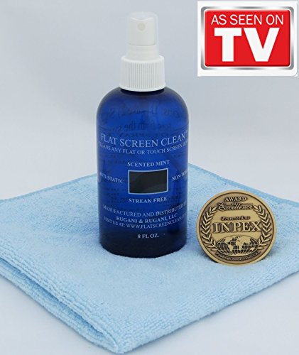 "Award Winning 8oz Bottle of Flat Screen Clean + a FREE 16""x16"" Microfiber Towel / Screen Cleaner / Touch Screen Cleaner / Flat Screen Cleaner / Curved TV Cleaner / Wearable Cleaner /On The DIY Network"