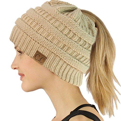 Ponytail Messy Bun BeanieTail Soft Winter Knit Stretchy Beanie Hat Cap Solid Beige ()