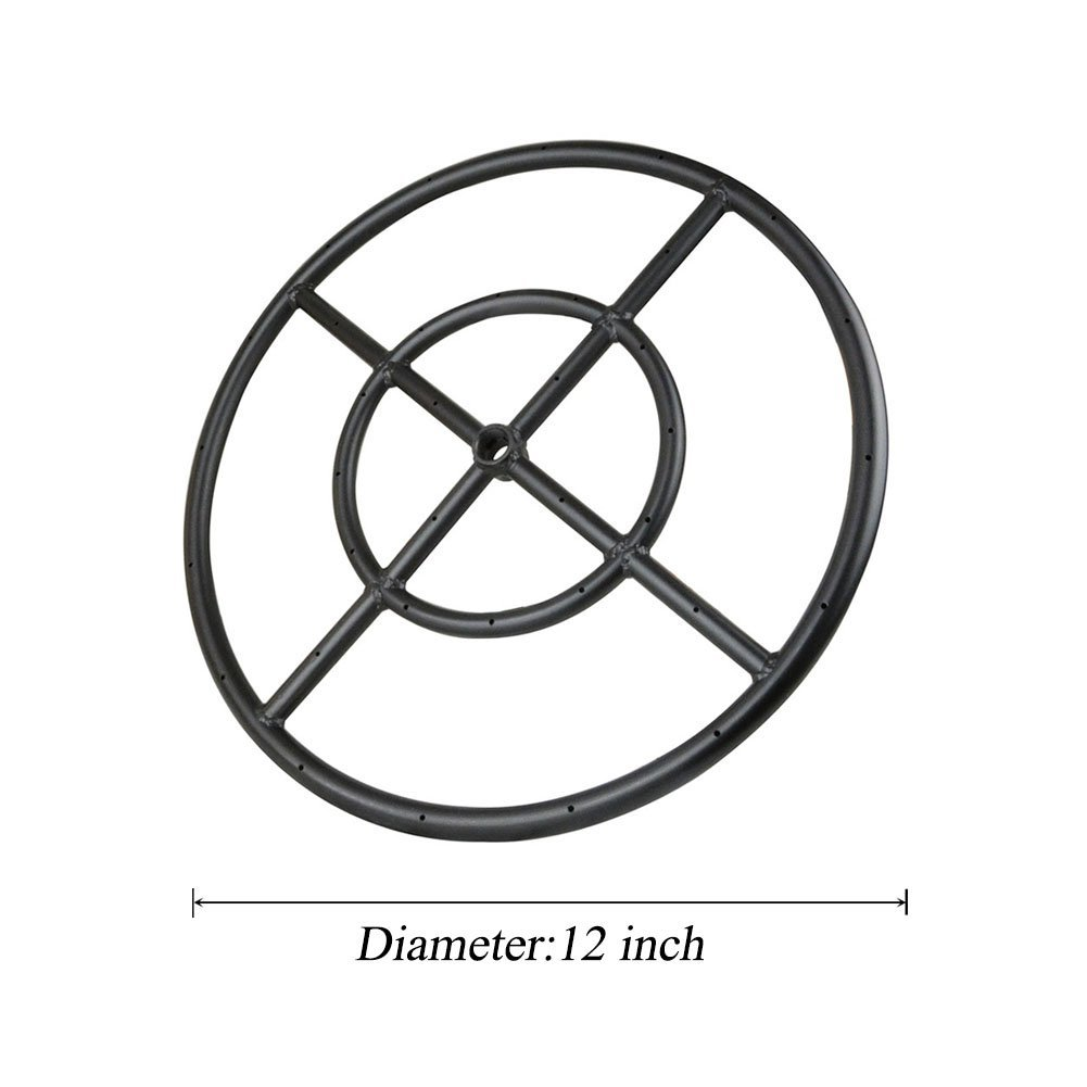Stanbroil 12'' Round Fire Pit Burner Ring, Double Ring, Black Steel