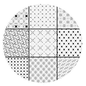 alfombrilla de ratón Modelo monocromático blanco y negro ajustado - ronda - 20cm