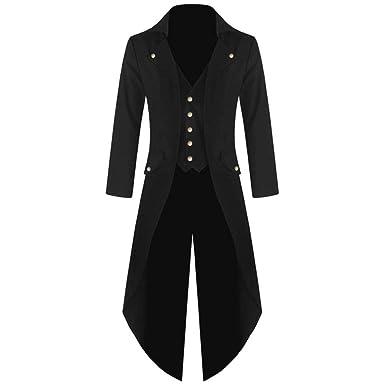 BaZhaHei-Halloween, Abrigo de Hombre Chaqueta de Abrigo Chaqueta de Vestir gótica Uniforme Fiesta de Disfraces Ropa de Abrigo Abrigo de Manga Larga Hombres ...