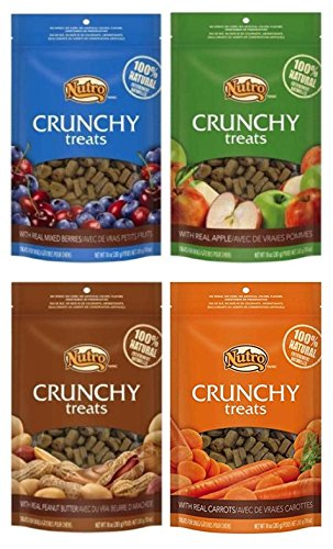 Nutro All Natural Crunchy Training Treats Dogs 4 Flavor Variety Bundle  (1) Peanut Butter, (1) Mixed Berries, (1) Carred (1) Apple, 10 Oz. Ea. (4 Bags Total)