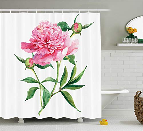 (Ambesonne Watercolor Flower Shower Curtain, Vintage Peony Painting Botanical Spring Garden Flower Nature Theme, Fabric Bathroom Decor Set with Hooks, 70 Inches, Pink White)