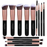 Makeupbox 14 Brochas de maquillaje kabuki Rose Gold Profesionales Gran Aplicación Suaves y Firmes %100 Veganas y cruelty free