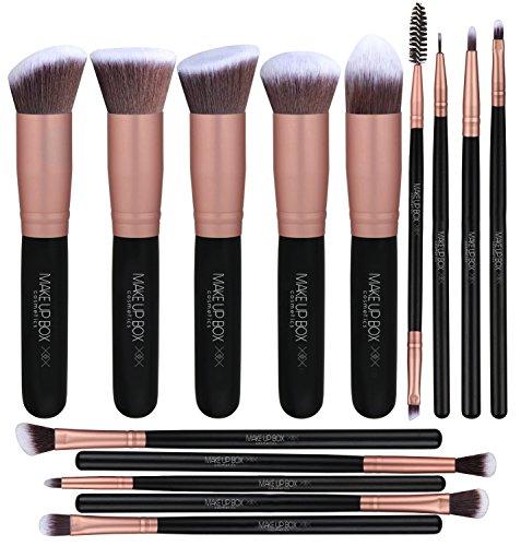Makeupbox 14 Brochas de maquillaje kabuki Rose Gold Profesionales Gran Aplicación Suaves y Firmes%100 Veganas y cruelty fre...