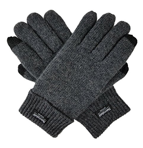 Bruceriver Men's Pure Wool Knitted Touchscreen Gloves with Thinsulate Lining Size S/M(Anthra Touchscreen)