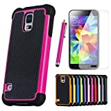ShopNY Case -Heavy Duty Rugged Cover Case for Samsung Galaxy S5 SV S V Smart Phone (Pink)