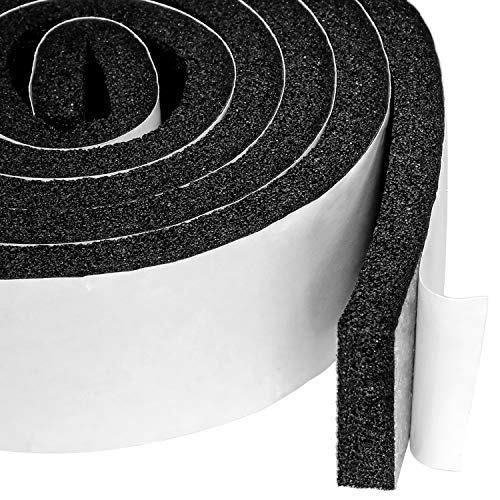 Open Cell Air Conditioning Weatherstrip Insulation Foam 2 X 1/2 Inch, Self Adhesive Flame Retardant Seal Strip, 6.5 Feet Long ()