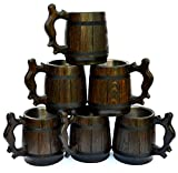 Handmade Beer Mug Set of 6 Oak Wood Stainless Steel Cup Gift Natural Eco-Friendly 0.6L 20oz Retro Brown
