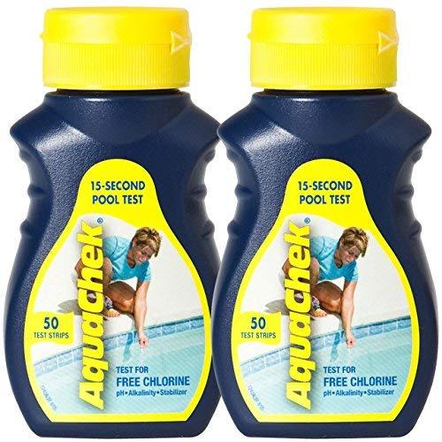 AquaChek Yellow Water Testing Strips - (50) for Free Chlorine, Total Alkalinity, Cyanuric Acid (Stabilizer) & pH - (2) Pack