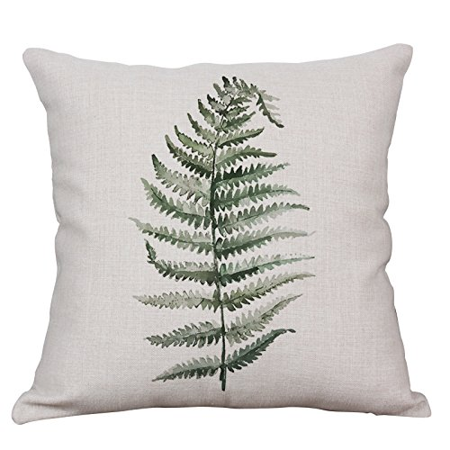 Green Fern Leaf Throw Pillow Covers Decorative Cushion Covers Square Cotton Linen Outdoor Couch Sofa Home Pillow Covers 18x18 ()