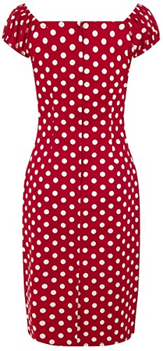 mit Damen Dress Punkte Collectif Polka Kleid Kirschrot Pencil weißen Dolores Dots Dots qzwffZdx0
