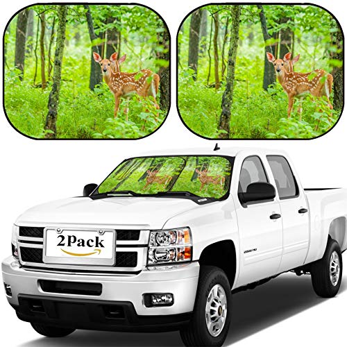 MSD Car Windshield Sun Shade, Universal Fit, 2-Piece for Car Window SunShades, Automotive Foldable Protector Cover, Image ID: 29823275 Whitetail Deer Fawn Standing in The Woods ()