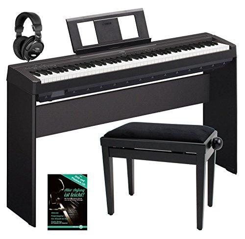 Yamaha P-45B Digitalpiano / Stagepiano Komplett SET inkl. Ständer, Bank, Kopfhörer und Schule (88 Tasten, max. Polyphonie: 64 Stimmen, 10 Voices, 4 Reverb Effekte, 2 x 6 Watt Verstärker, 6 Watt, Auto Power Off, Stativ, Noten) schwarz