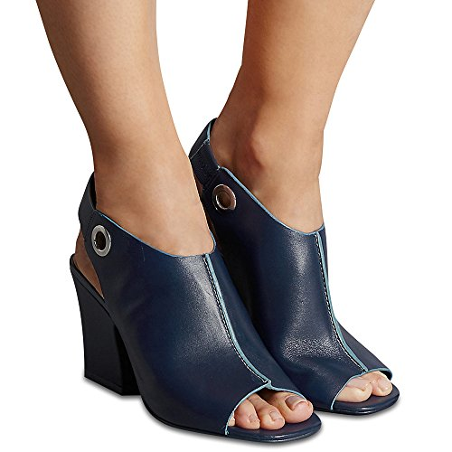 Marks RRP Spencer Leather T021723 Sandals amp; Insolia® Navy Angular Autograph with £55 Heel OOwxTvZnrA