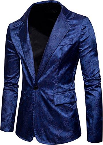 HENGAO Men's One Button Floral Lapel Slim Fit Blazer Jacket Sport Coat, Navy Blue, X-Large = Tag 2XL