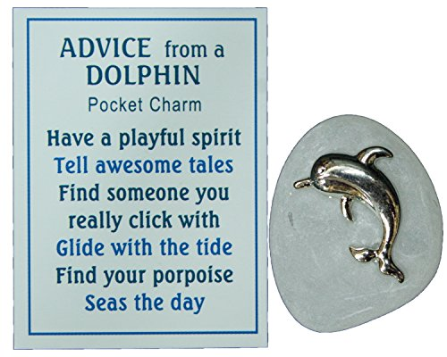Little Fish Charm - Ganz Advice From a Dolphin Pocket Stone with Story Card! (White)