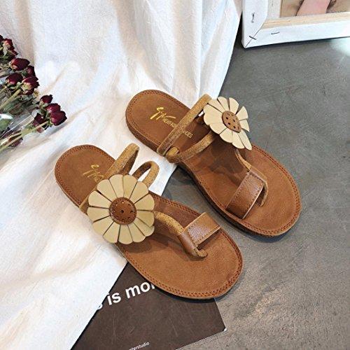 BURFLY Women Flower Flat Heel Sandals Slipper Fashion Ladies Summer Anti Skidding Beach Flip-Flop Shoes Ladies Elegant Open-Toe Shoes For Women Girls Yellow PluaNWJBJo