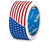 "rela Cool Designs Premium Printed Packaging Tape""USA Flag"" 1.88"" x 55 Yards (USA Flag, 2"" Width (Single Pack))"