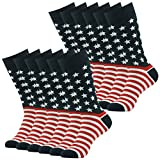 Patriotic American Flag Socks, SUTTOS Mens 4th of July Fashion Cotton Soft Crew Dress Sock Groomsmen Wedding Luxury Gifts Socks Back to School Socks Colorful Patterned Dress socks Business Office Party Fun Socks,12 Pairs