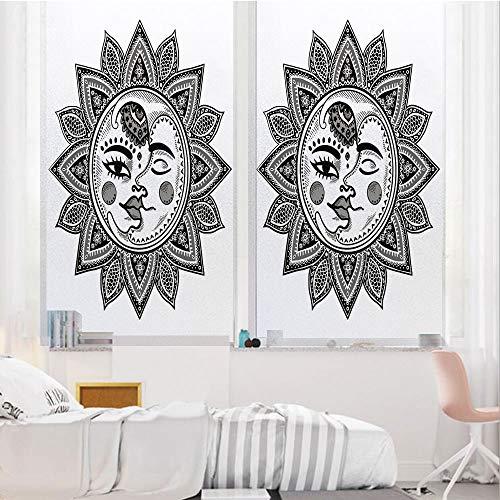 Sun and Moon 3D No Glue Static Decorative Privacy Window Films, Mandala -