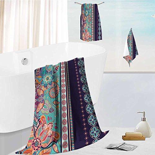AuraiseHome Luxury Bath Towel Collection Set Striped seamless pattern Floral wallpaper Machine Washable, Super Soft 19.7