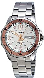 Casio #MTD100D-7A1V Men's Enticer Sports Stainless Steel Day Date Silver Dial Watch