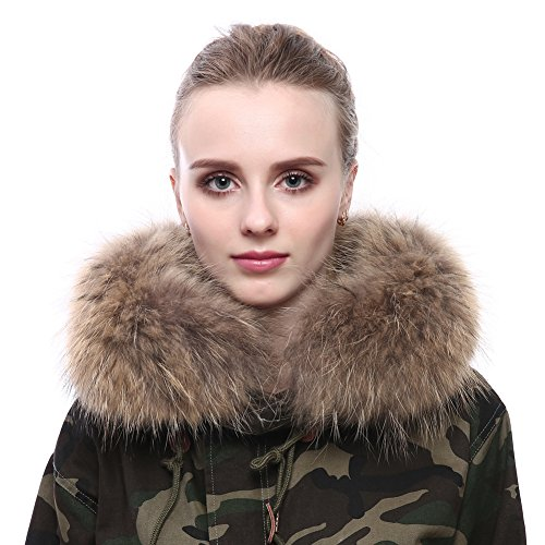 Vemolla Women Detachable Real Raccoon Fur Collar for Winter Coat in Natural Color 75 - Five Color Natural