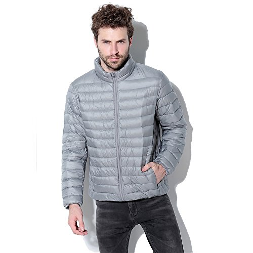 Men's Short Coats Winter Super Light Keep Warm Packable Down Jacket (S, gray) (Shocking Pink Anime)