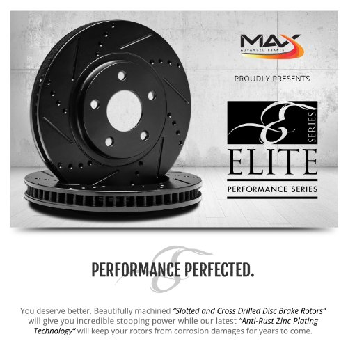 Max KT030881 [ELITE SERIES] Front Performance Slotted & Cross Drilled Rotors and Ceramic Pads Combo Brake Kit