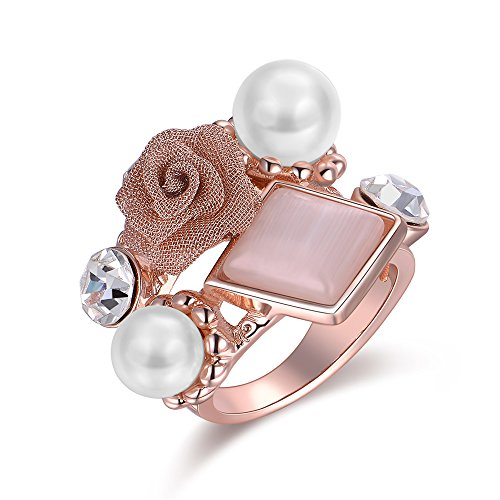 Dnswez Rose Gold Plated Colorful Rose Flower Cat Eye and Pearl Cluster Cocktail Ring - Pearl Cat Eye