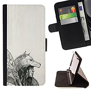 Momo Phone Case / Flip Funda de Cuero Case Cover - Nativo indio Lobo Mujer Lanza Arte Dibujo - Samsung Galaxy S6 Active G890A