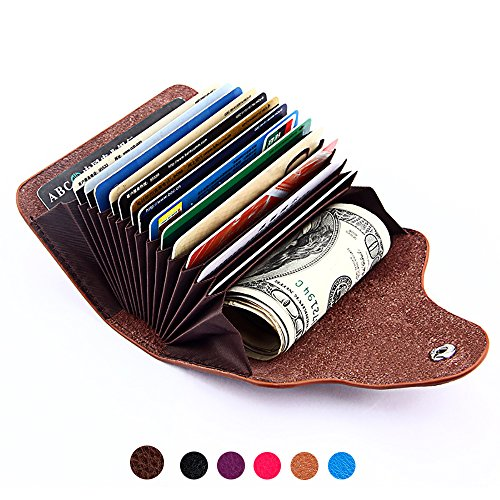 Slim Wallet Genuine Leather Credit Card Holder Minimalist Case for Men Women Mini Size Extra Capacity Inserts Organizer Small Purse