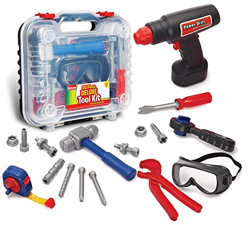 Durable Kids Tool Set, with Electronic Cordless Drill & 20 Pretend Play Construction Accessories, with a Sturdy