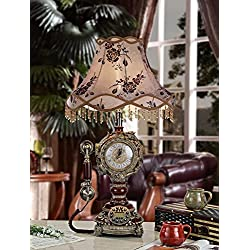 European antique retro clock light three with antique phone living room study bedroom bedside lamp , C