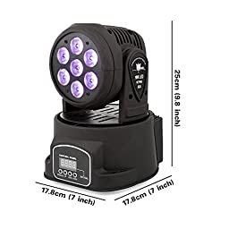 Stage Lighting by Kshioe, 4-in-1 7x10W RGBW Moving Head Light by DMX512 LED with 4 Control Mode for DJ KTV Disco Party Ballroom